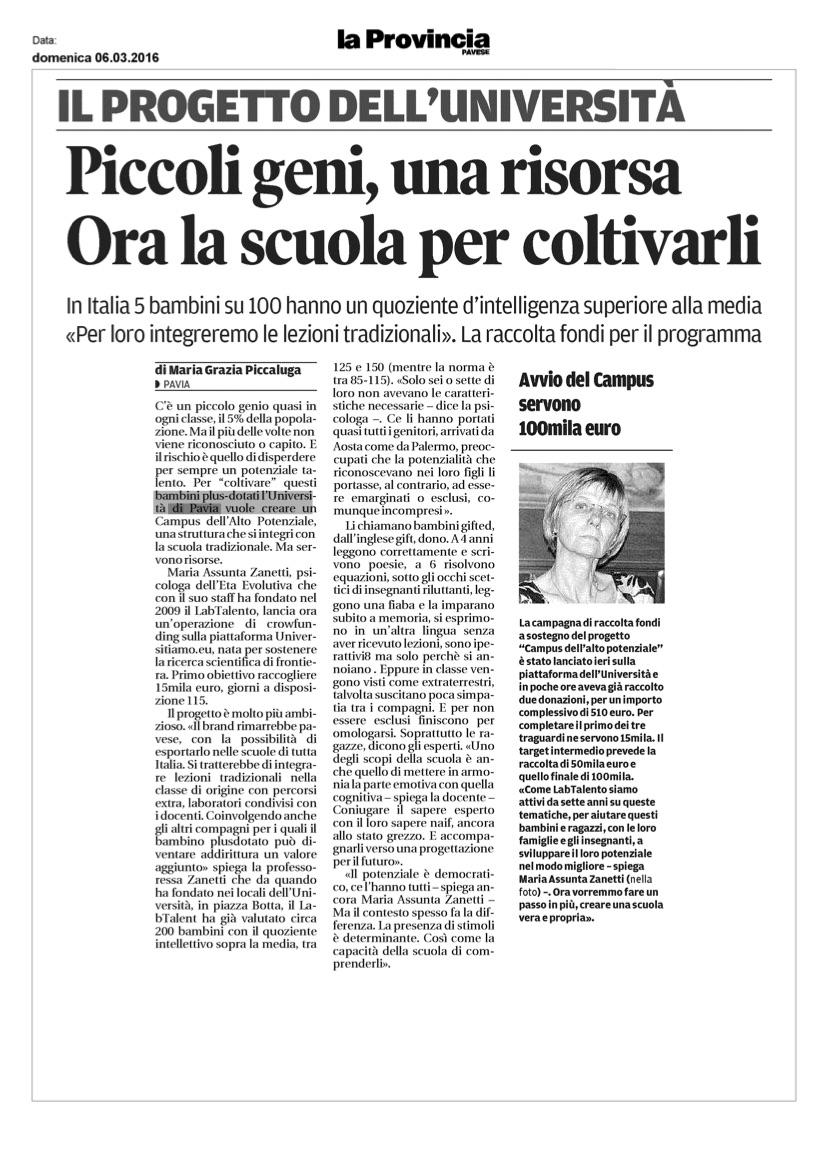 """La Provincia Pavese – """"Piccoli geni, una risorsa: ora la scuola per coltivarli"""""""