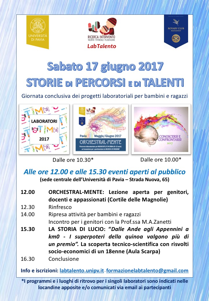 17.6.2017: STORIE DI PERCORSI E DI TALENTI