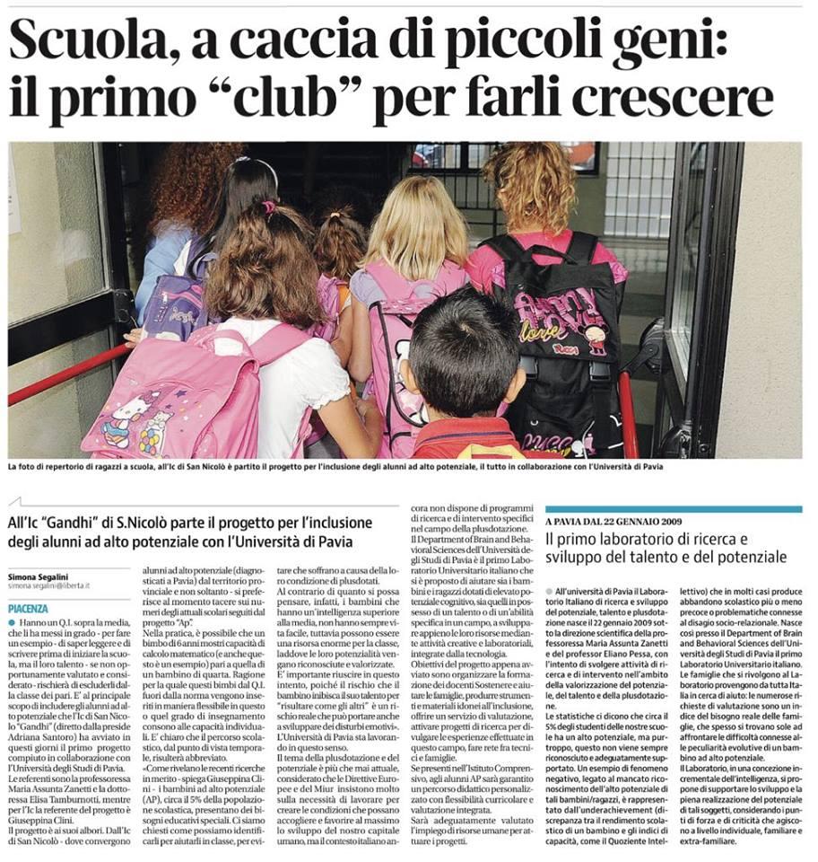 Libertà: All'IC Gandhi di San Nicolò (PC) parte per il progetto per l'inclusione degli alunni ad alto potenziale con L'università di Pavia