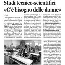 """La Provincia Pavese: Il progetto kaleidoscopro – Studi tecnico scientifici """"c'è bisogno delle donne"""""""