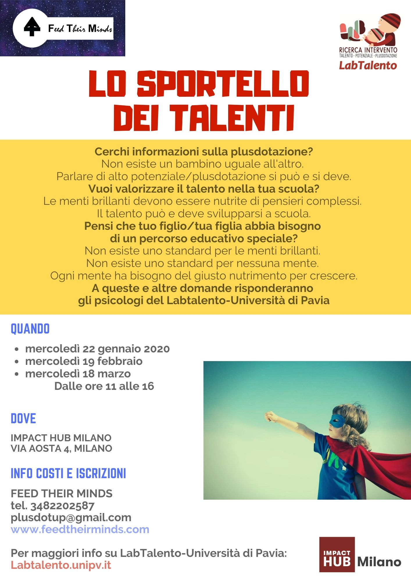 Sportello dei talenti 2020 gennaio-marzo