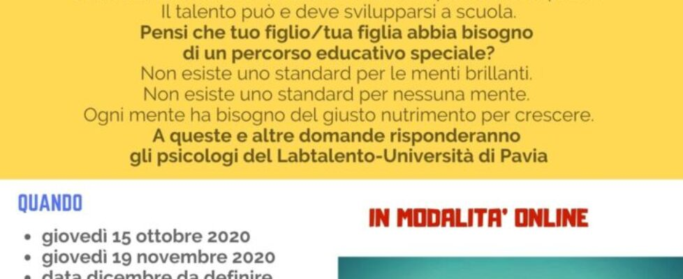 SPORTELLO DEL TALENTO - ottobre 2020
